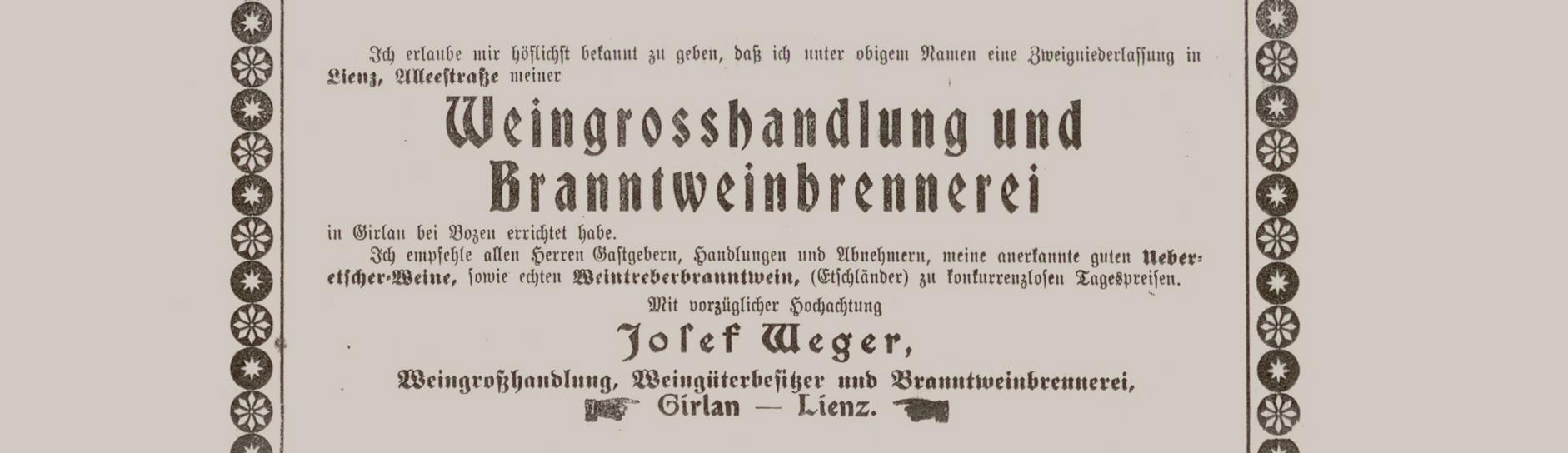 Inserat Lienzer Nachrichten 1923